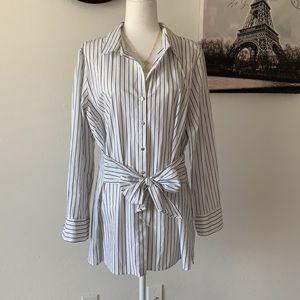 Anne Klein Striped Blouse w/Tie